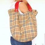 Grand sac cabas carreaux anses amovibles cuir bd