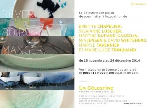 Invitation Brigitte Chapelier - exposition céramiques galerie célestine - nov14