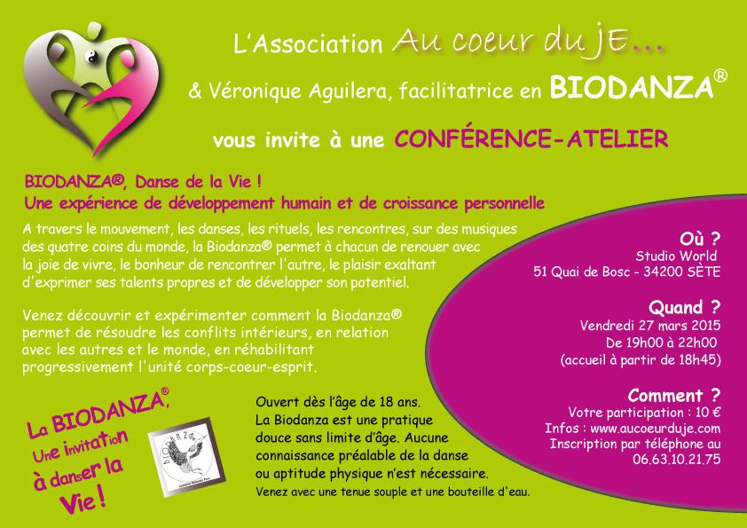Biodanza : conférence-atelier animée par Véronique Aguilera – 27 mars 2015