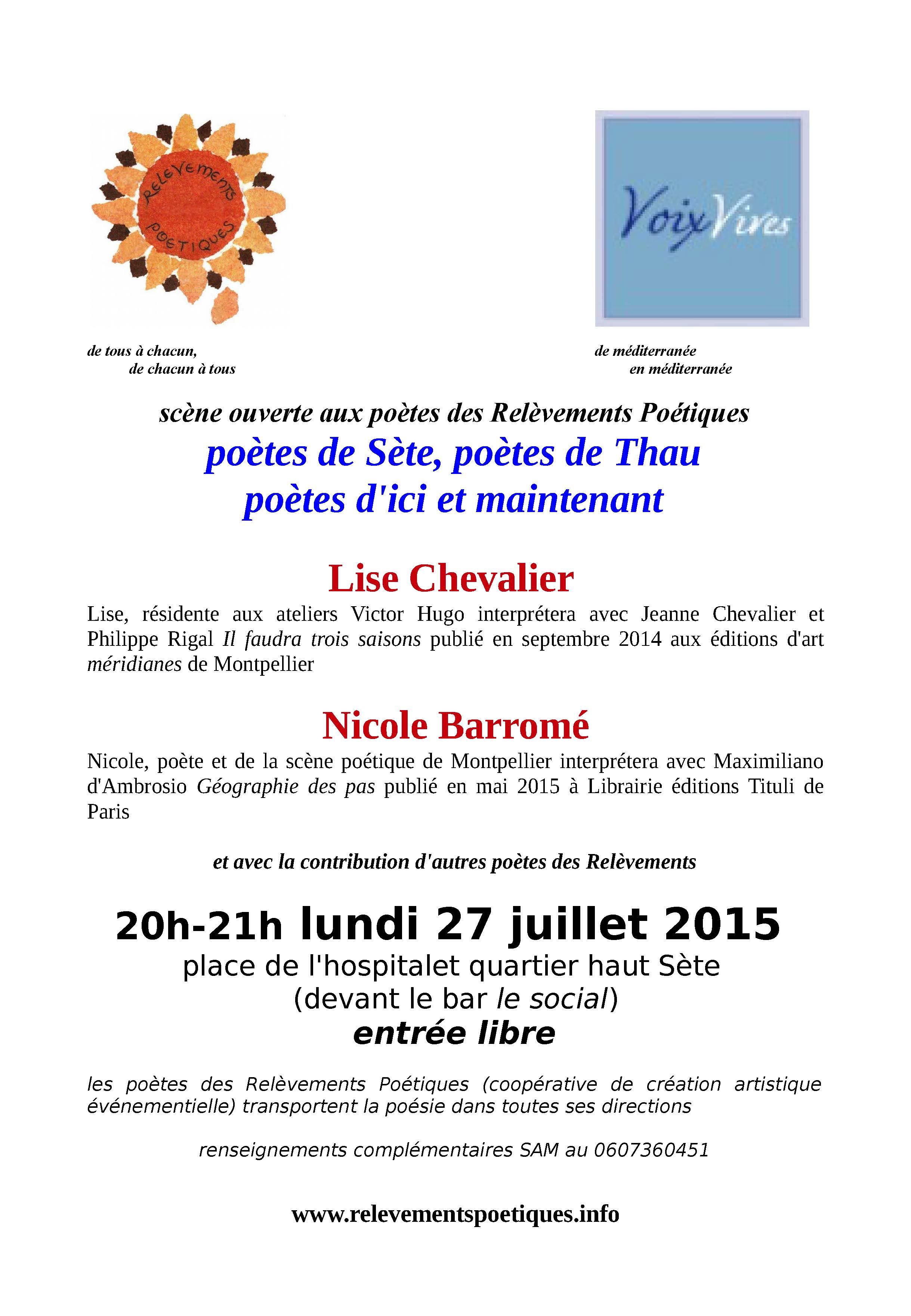 """Lecture """"Il faudra trois saisons"""", de Lise Chevalier – festival Voix Vives – 27 juillet 2015 – Sète"""