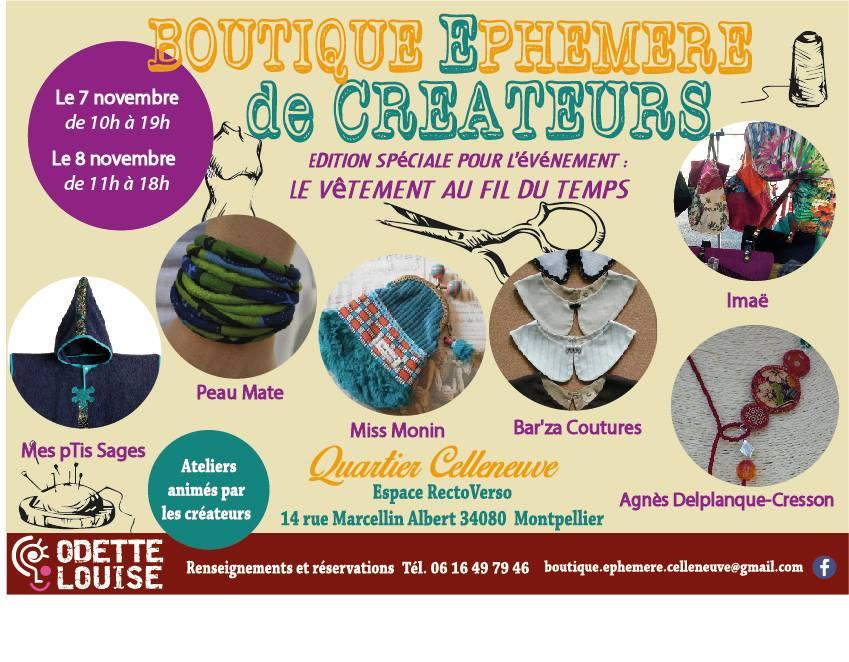 Le vêtement au fil du temps – samedi 7 novembre 2015 – quartier Figuerolles-Montpellier