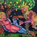 Satyre et nymphette-acrylique et céramiques sur toile de jute-90x100cm-1993 © Christophe Cosentino