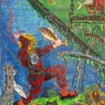 Scaphandrier et poisson-laque et éclats de céramiques sur bois-60x46 cm-2014 © Christophe Cosentino BD