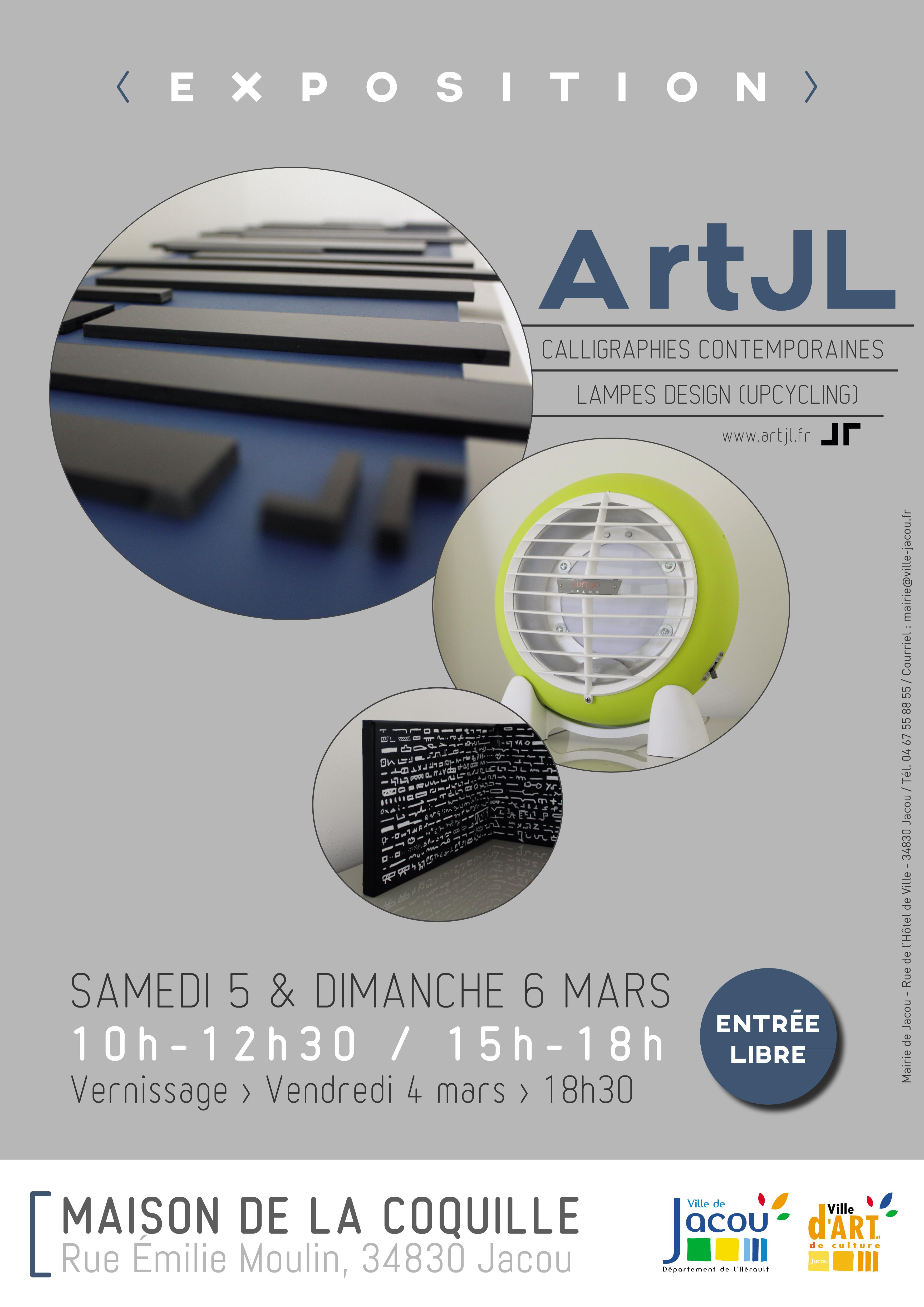 Art Jl présente ses calligraphies contemporaines et lampes design à Jacou – maison de la coquille- 5&6 mars 2016