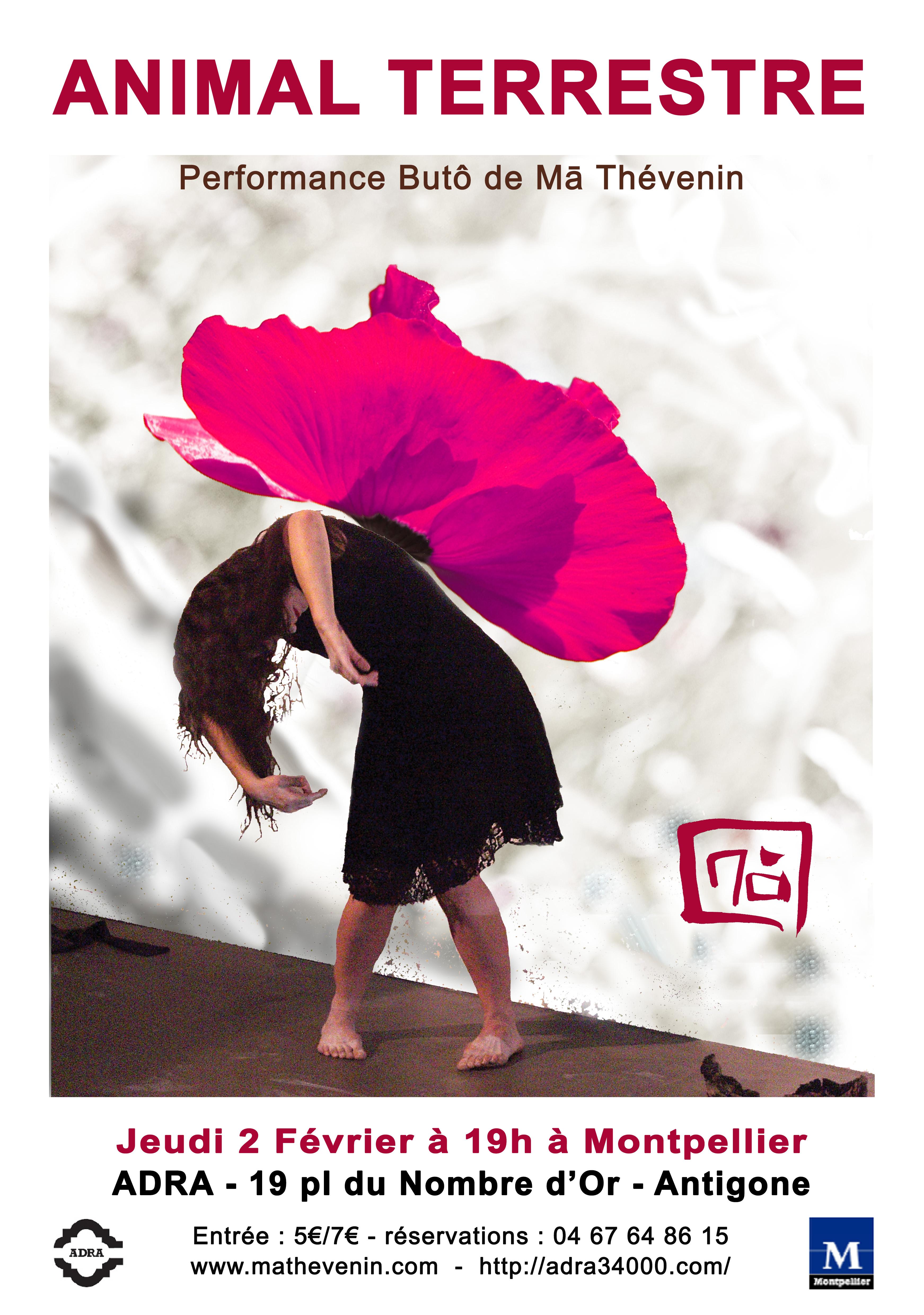 Performance de danse Butô – ANIMAL TERRESTRE le 2 Février 2017 à 19h, Quartier Antigone – à l'ADRA,19 place du Nombre d'Or 34000 Montpellier