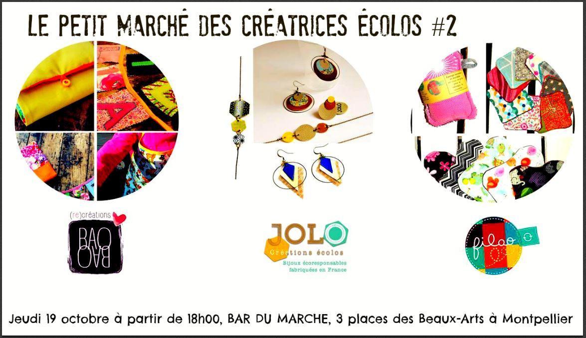Le petit marché des créatrices écolo#2 – 19 octobre – place des beaux arts Montpellier