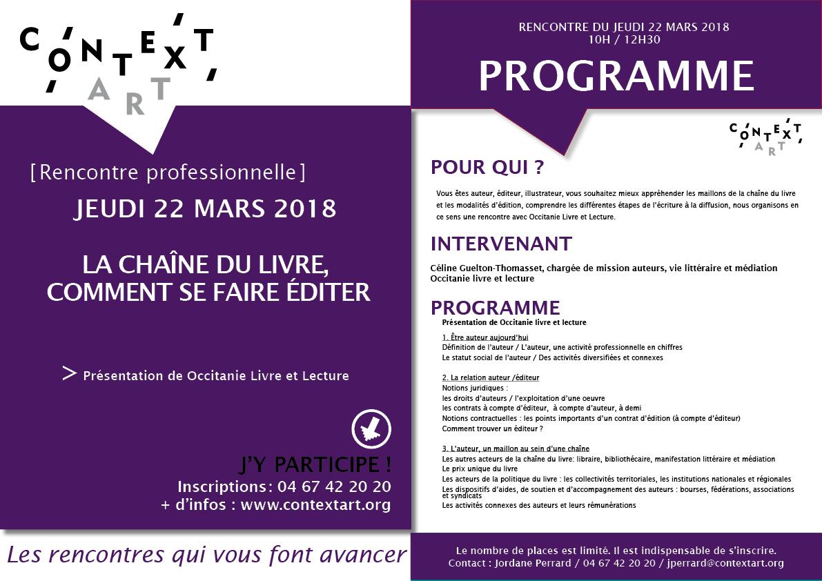 Rencontre pro sur la Chaîne du livre/Comment se faire éditer – Occitanie livre et lecture – 22/03/18 à Context'Art