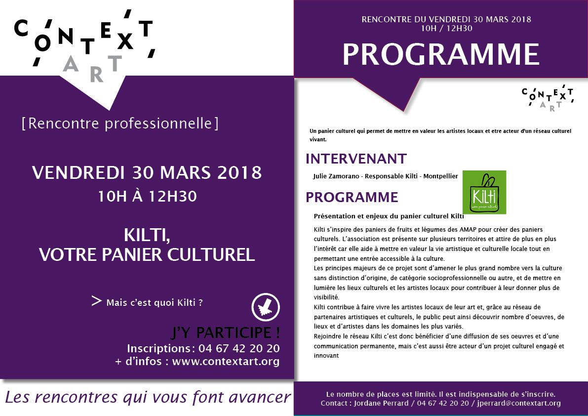 """Rencontre professionnelle Context'Art – """"Panier culturel Kilti""""-30 mars 2018-10h"""