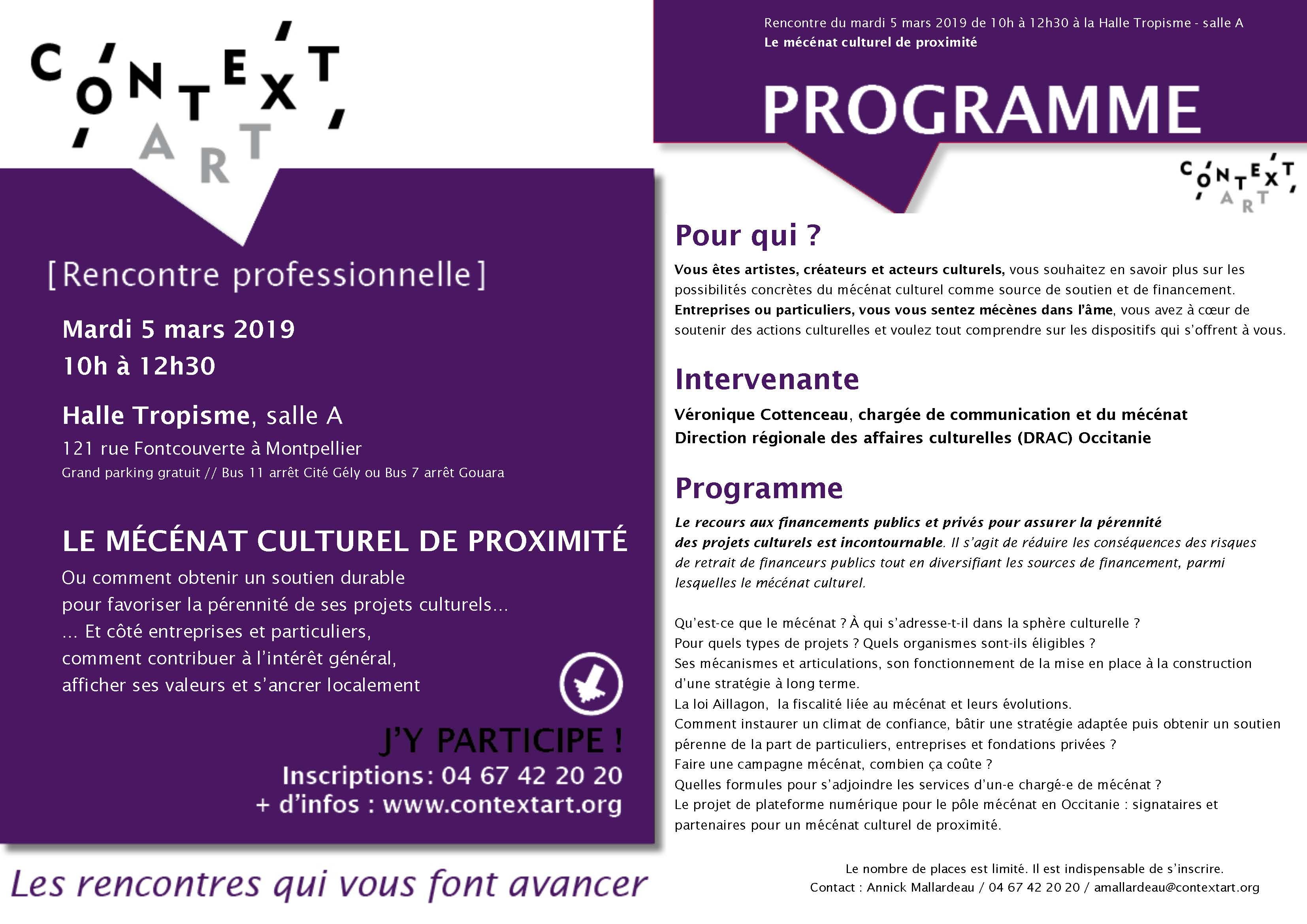 RENCONTRE PROFESSIONNELLE > MECENAT CULTUREL DE PROXIMITE // mardi 5 mars 2019, Halle Tropisme
