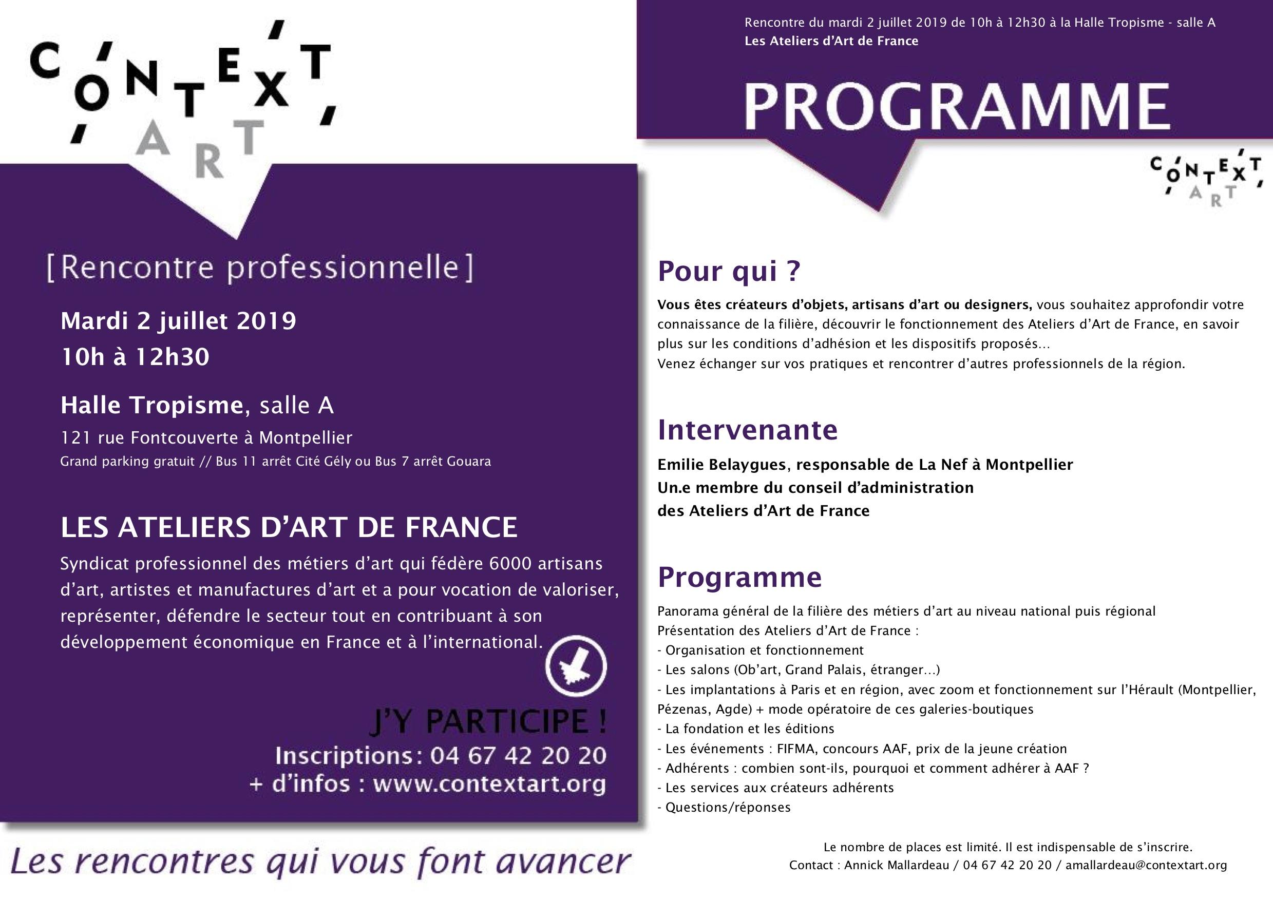 [RENCONTRE PRO] LES ATELIERS D'ART DE FRANCE // mardi 9 juillet // HALLE TROPISME