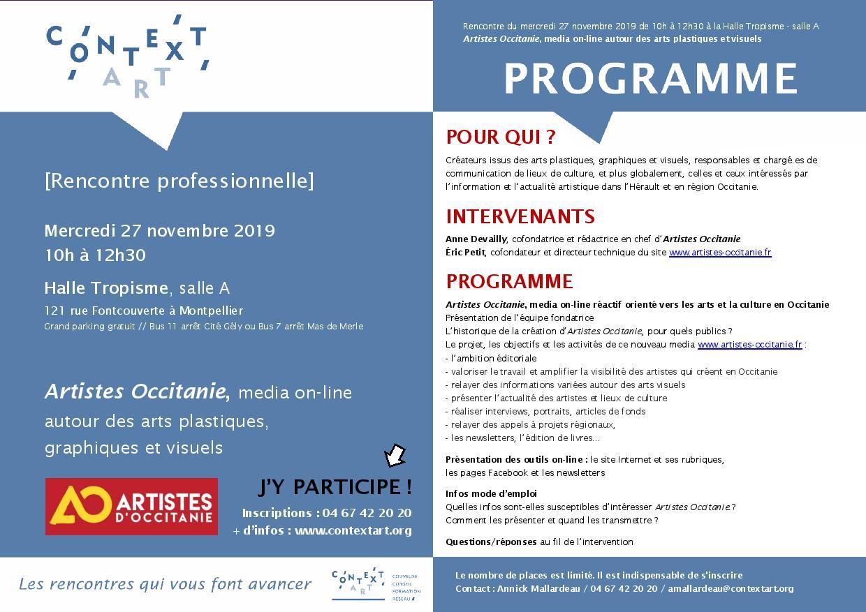 [RENCONTRE PRO] Artistes Occitanie, media on-line autour des arts plastiques, graphiques et visuels // mercredi 27 novembre // HALLE TROPISME